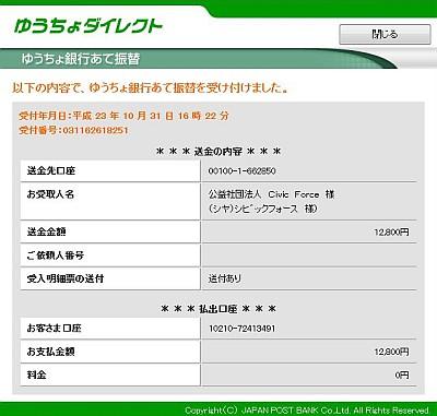 第5回横浜シティロゲイン寄付