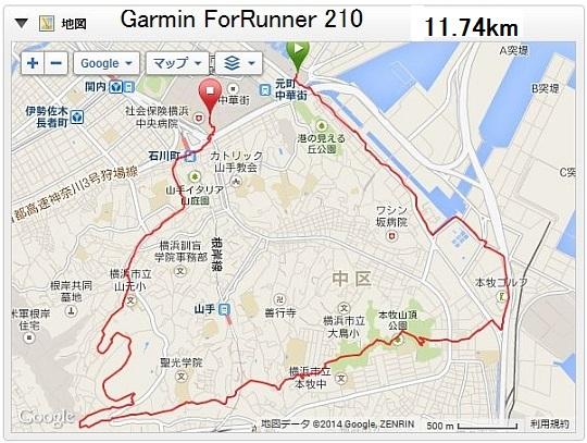 garmin fr210のログ画像
