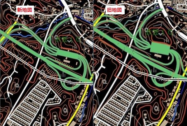 衣笠インターの新旧地図