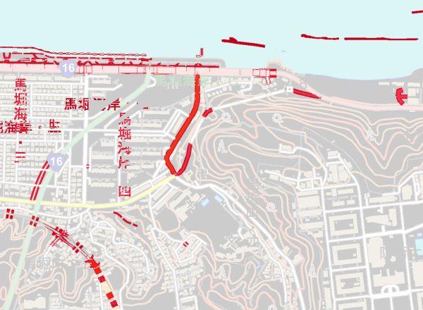 馬堀海岸の差分地図