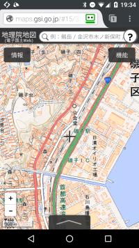 地理院地図の現在位置表示状態